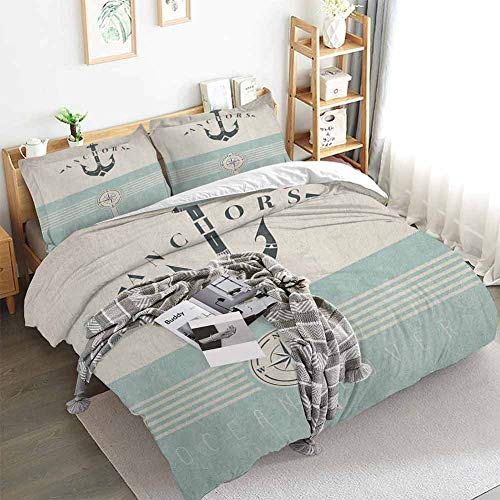 Nautical Duvet Cover Set,Vintage Marine Design for Ocean Lovers Anchor Figure Compass and Stripes,Decorative 3 Piece Bedding Set with 2 Pillow Shams,Queen(90'x90') Seafoam Black Beige