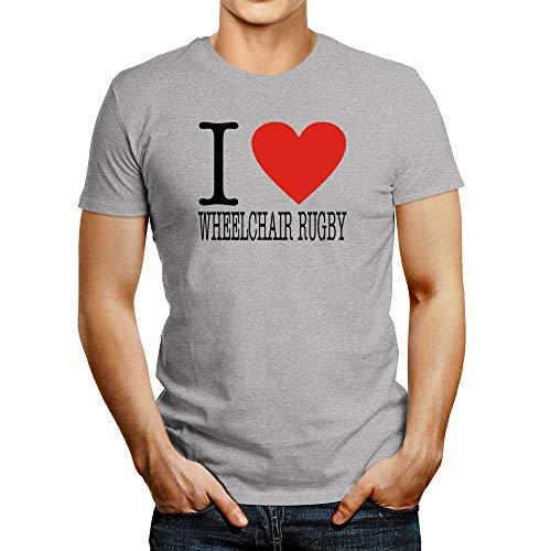 Idakoos I Love Rollstuhl-Rugby-T-Shirt - Grau - Mittel