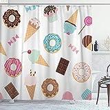 NR Tenda da Doccia con Ganci,Ciambelle di Cupcakes al Cioccolato Colorato Dolci Compleanno Dolci Ciambelle,Impermeabile Poliestere Tende per Vasca da Bagno 180x180cm