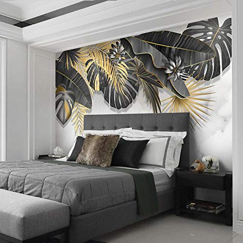 Carta da parati murale personalizzata Foglia di pianta tropicale Foglia di marmo bianco Carta da parati fotografica 3D per soggiorno Camera da letto T