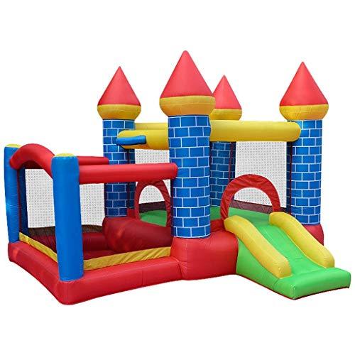 WRJY Castillo Hinchable para niños Juguetes de tobogán para el hogar Parque de Atracciones pequeño Trampolín para niños Trampolín Inflable (Color: Azul + Rojo + Verde, Tamaño: 300 * 275