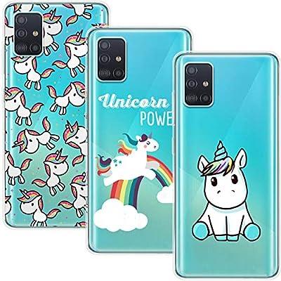 Young & Ming Funda para Samsung Galaxy A71 4G [No para 5G], (3 Pack) Transparente TPU Silicona Carcasa Delgado Antigolpes Resistente, Unicornio