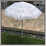 Parasol LWMQ Tiki Parapluie Blanc en Paille — Réglable en Hauteur 120cm-200cm, Adapté pour La Décoration De Thème De Mariage De Plage. (Base Non Incluse) -180cm / 5.9ft