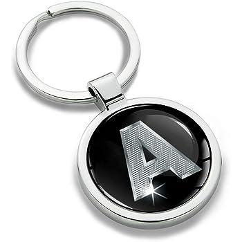 Regalo de la Letra C KK 3 Skino Llavero con Iniciales Personalizadas del Alfabeto de Metal en 3D Plata para Hombres y Mujeres