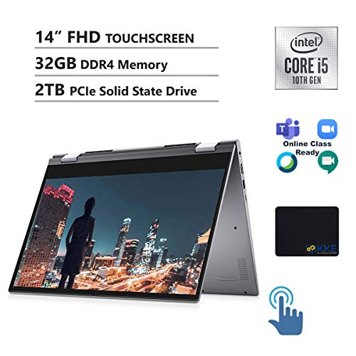 Dell Inspiron 14' 2-in-1 FHD Touchscreen Laptop (Titan Grey-Metal), Intel Core i5-1035G1, 32GB DDR4 Memory, 2TB PCIe Solid State Drive,Webcam, Online Class Ready, HDMI, FP Reader, WiFi, Win10 Home