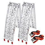 Froadp 2X Pliable Rampe de Chargement Antidérapante Aluminium Stabilité Rampe d'accès pour Véhicules à Moto Quads Remorques Charge Jusqu'à 680KG par Paire(230x28x7cm)