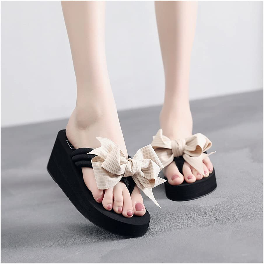 Bow Flip Flops Cross-Border-Style Platform Platform Non-Slip Sandals Women's Slippers Women's (Color : 6cm Black White, Shoe Size : 35)