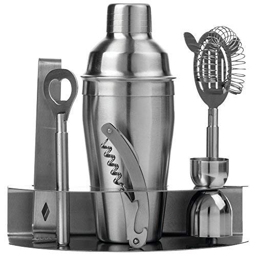 Wyndham Tools Stainless Steel Bar Set with Cocktail Shaker, Multisizes, Silver