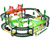 Kuopry Dinosaur Toys, Dinosaur Race Track Double-Decker Track Playset, Flexible Dinosaur World Road Race Car Track Set,Funny & Unique Birthday Gift Idea for Boys, Girls and Ages 3, 4, 5, 6, 7, 8, 9+