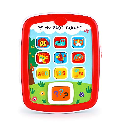 VATOS Toddler Learning Tablet for 1 Year Old, Baby Ipad for 6M -12M -18M+ with Music & Light, Travel Toy Tablet with Easy ABC Toy, Numbers & Color   My First Learning Tablet