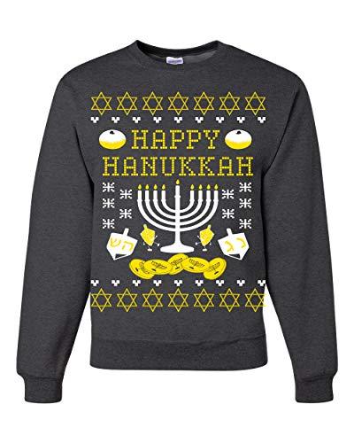 Happy Hannukah Menorah Candle Channukah   Mens Ugly Christmas Sweater Crewneck Graphic Sweatshirt, Heather Black, 3XL