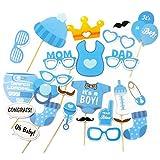 Oblique-Unique® 25 Stück Babydusche Foto Props Baby Flasche Masken Fotorequisiten Neugeborene Junge Partydekoration