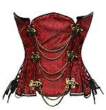 Bslingerie® Gothic Damen Steampunk Stahl ohne Knochen Unterbrust Korsett Corsage Wäsche Korsett Korsagen (L, Rot)