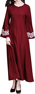Coco-Z 2019 comf Muslim Maxi Dress Trumpet Sleeve Abaya Long Robe Gowns Tunic Belt