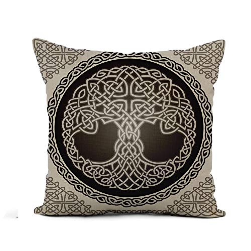 Awowee Flax Throw Pillow Cover Knot Round Celtic Tree of Life Border Black White 16x16 Inches Pillowcase Home Decor Square Cotton Linen Pillow Case Cushion Cover