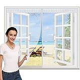 Zanzariera per Porta Magnetica 85x205cm, Zanzariera Finestra, Chiude Automaticamente Easy to Install, per Finestre A Saliscendi, Bianca