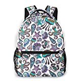 NiYoung Back to School Gift - Travel Hiking Bag & Day Pack Casual Daypack Climbing Shoulder Bag Large Capacity Backpck Octopus Shell Starfish Jellyfish College School Bookbag for Girls Boys