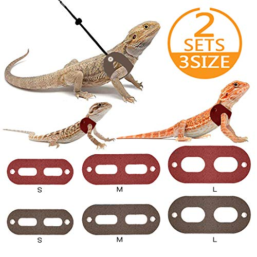 Bigbigjk Bearded Dragon Leash(S,M,L,2 Set), Bearded Dragon Harness, Adjustable Lizard Leash Reptile Harness, Gecko Leash Amphibians Small Animal Pet Leashes (3 Size)