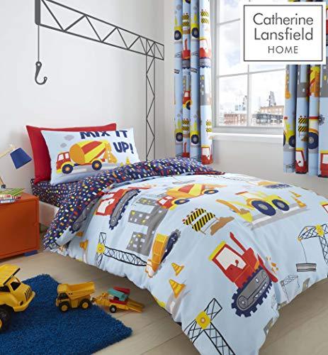Catherine Lansfield Construction Set Copripiumino per Letto Singolo, Poliestere, Blu, piumone 1 Piazza