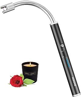 Encendedor,Encendedor Eléctrico,Encendedor de Arco Eléctrico Con Pantalla LED de Batería,USB recargable para Camping,Cocina,BBQs,Fuegos Artificiales