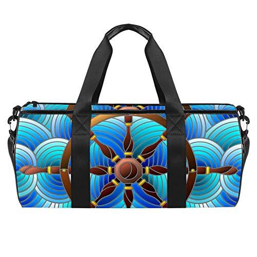 Ship Steering Wheel Waves Print Duffel Shoulder Carry Bag Canvas Travel Bag for Gym Sports Dance Travel Weekender