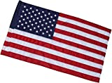"""3x5 Ft American Flag - Pole Sleeve Header   100% Made in USA   3'x5' US Flag in Heavy Duty Outdoor Nylon - UV Fade Resistant - Premium Embroidered Stars, Sewn Stripes, and 2"""" Pole Hem"""