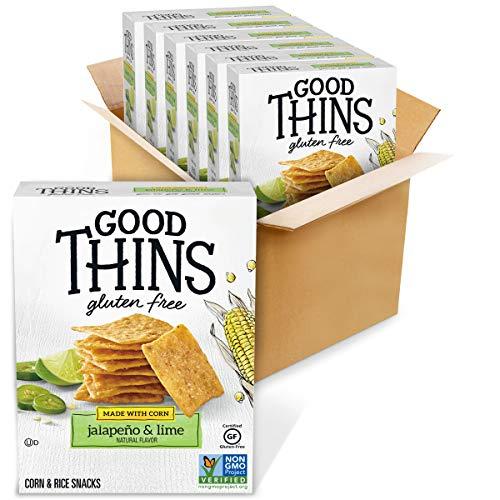 Good Thins Jalapeño & Lime Corn & Rice Snacks Gluten Free Crackers, 6 - 3.5 oz Boxes