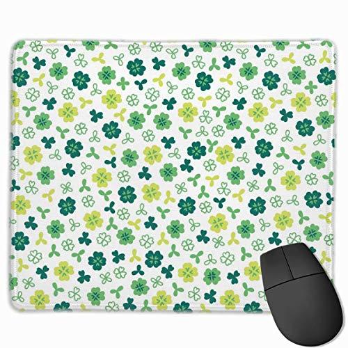 Rechteckiges rutschfestes Gaming-Mauspad mit vierblättrigem Kleeblatt Tastatur Gummi-Mauspad für Heim- und Büro-Laptops