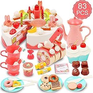 DigHealth 83 Piezas Tarta Cumpleaños Juguete, Alimentos Juguete, Corte Pastel de Cumpleaños con Velas, Fruta, Helado, Galletas, Dulce y Chocolate para Niños de 3 Años en Adelante