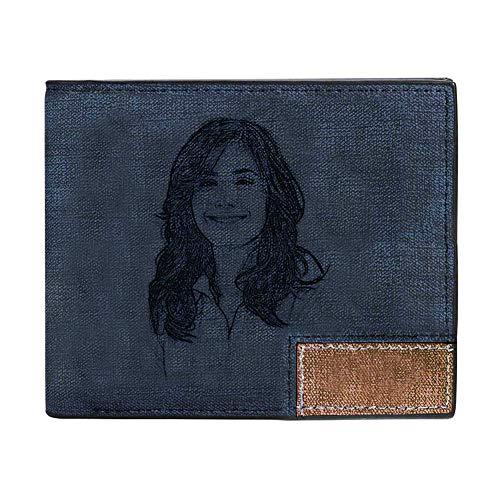 Carteras personalizadas con fotos para hombres personalizado grabado de cuero para marido, padre, hijo, novio, regalo