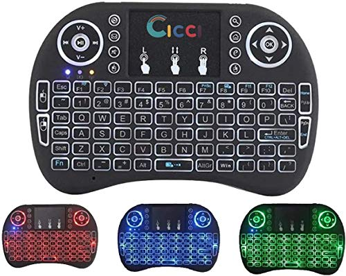 Backlit 2.4G Mini Wireless Keyboard with Touchpad&Portable USB Receiver Remote Control for Laptop/PC/Tablets/Windows/Mac/TV/Xbox/PS3/Android TV Box with Rechargeable Battery
