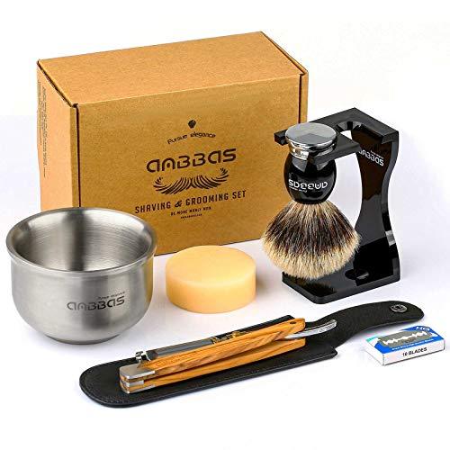 7in1 Rasierset Herren Geschenk Set, Anbbas Rasierpinsel Reines Dachshaar Silberspitz Shaving Brush Badger Rasiermesser und Ständer Rasurset für Die Klassische Nassrasur
