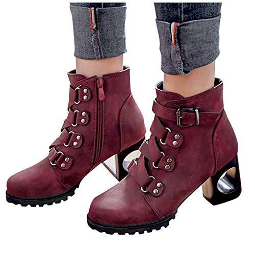 Damen High Heels Stiefel Chunky Heel Schnalle Schuhe 2020 UK Feminie Boots Casual Damen Stiefel Vintage Fashion Damen knight Boot UK Größe 3,5-7,5 Gr. 33, rot
