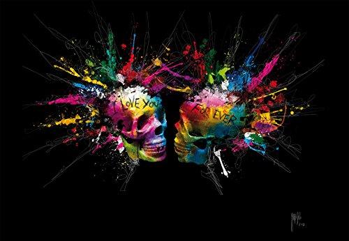1 Wall Patrice Murciano Colourful Skulls Nicht Gewebt Wand einkleistern Wandbild, Holz, Mehrfarbig, 3,6x 2,53m