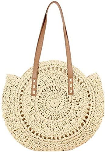 xqkj Bolso redondo de paja para mujer, tejido de ratán, bolso de hombro, bolso de playa, bolso redondo para verano, bolso de mano, crema, Small