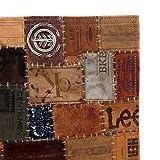 Nyyi Teppich Echtleder Jeans-Label Patchwork 120 x 170 cm Braun - 5