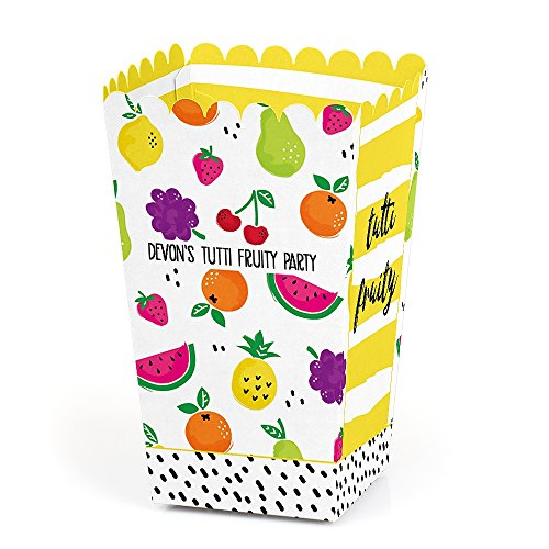 Big Dot of Happiness Personalized Tutti Fruity - Custom Frutti Summer Baby Shower or Birthday Party Favor Popcorn Treat Boxes - Custom Text - Set of 12