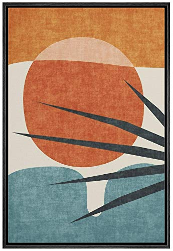 IDEA4WALL Framed Canvas Print Wall Art Abstract Blue Palm Tree & Red Sun Geometric Shapes Illustrations Modern Art Mid-Century Modern Ultra for Living Room, Bedroom, Office - 16'x24' Black