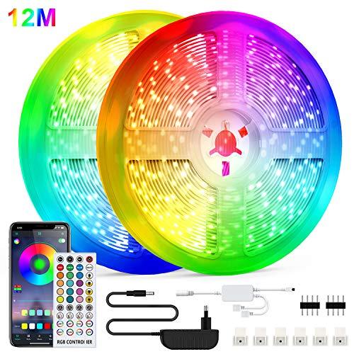 LED Strip Light, WEISIJI LED Streifen Farbwechsel Led Lichterkette 12m RGB Flexible LED Bänder Strips mit Bluetooth Kontroller Sync zur Musik, Anwendung für Haus, Küche, TV, Party[Energieklasse A++]