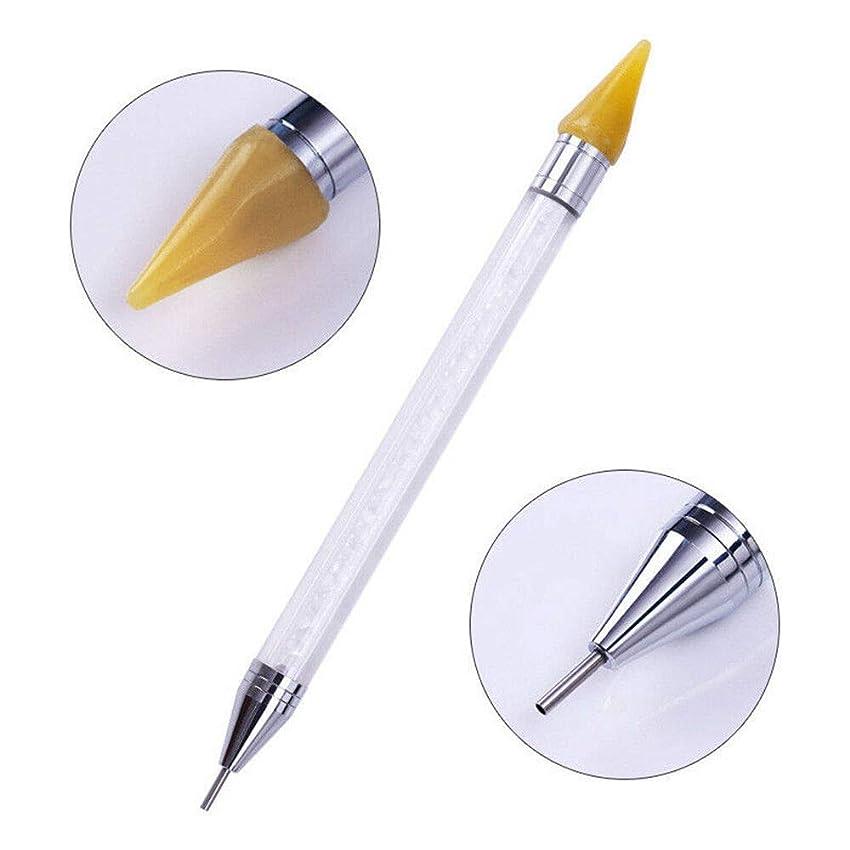 台無しに回想小屋FidgetGear ネイルアートラインストーンピッカーワックス鉛筆クリスタルビーズのハンドルデュアルエンドドットペン