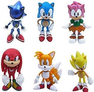 6 pcs Set the Hedgehog Sega Super Sonic action knuckles Figures cake toppers