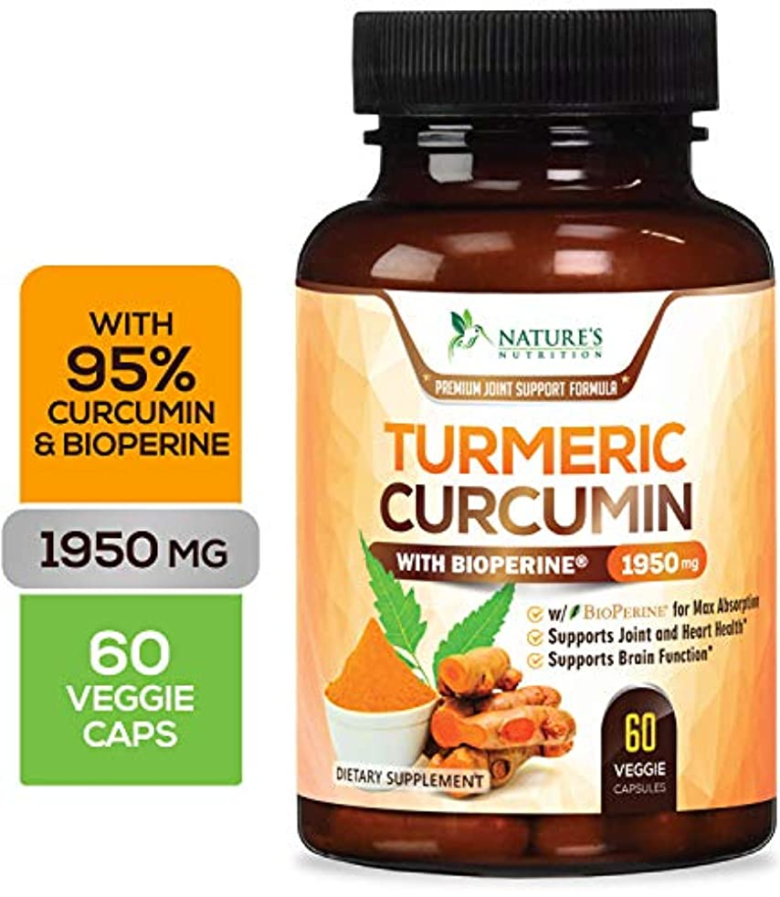Turmeric Curcumin Max Potency 95% Curcuminoids 1950mg with Bioperine Black Pepper for Best Absorption, Best Vegan Joint Pain Relief, Made in USA, Turmeric Pills by Natures Nutrition - 60 Capsules