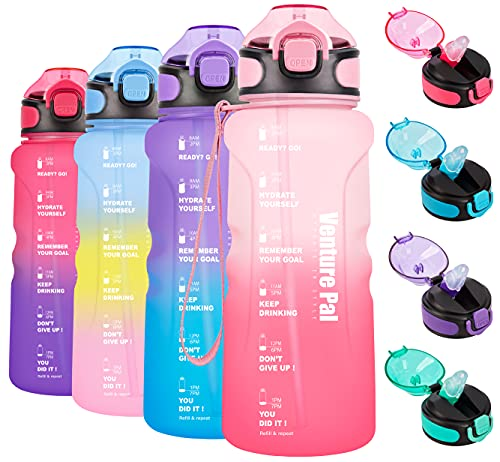 Venture Pal 32oz Motivational Water Bottle with Time Marker & Straw, Leakproof BPA Free Water Jug to Ensure You Drink Enough Water Throughout The Day for Outdoor Enthusiasts-Pink/Red Gradient