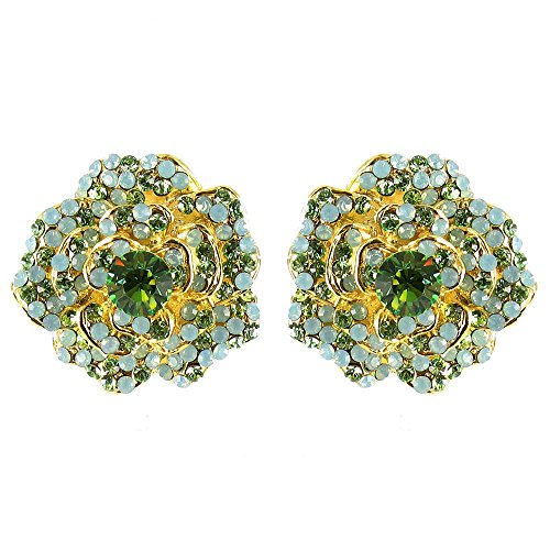 Verde en chapado en oro Vintage Movie Star Flower pendientes