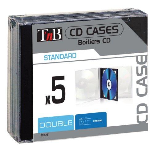 T'nB CDD5 Pack de 5 boîtiers transparents doubles