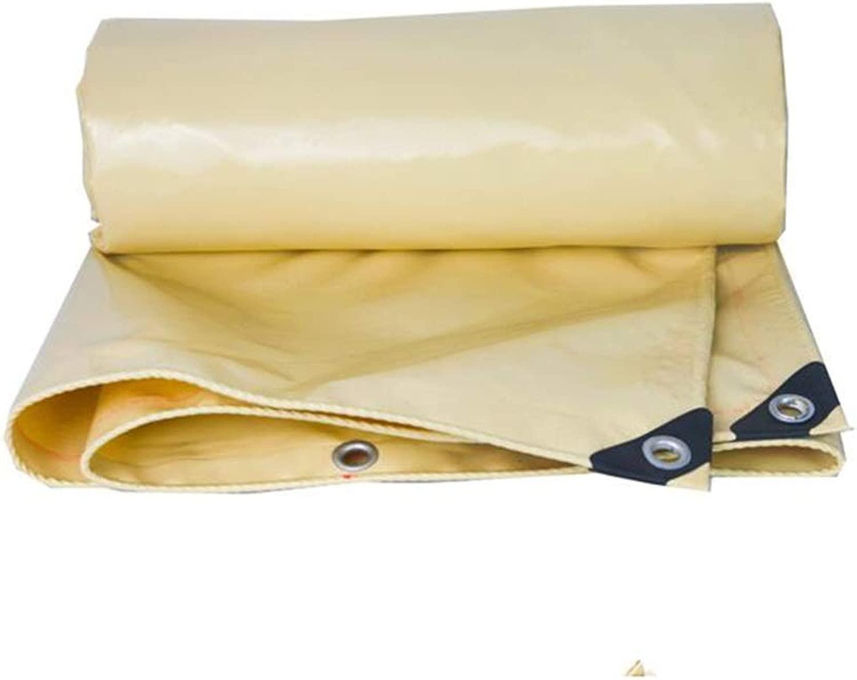 ZX タープ 屋外は防水シート防水タープグロメットヘビーデューティPVC日焼け止め防雨布ライトイエローを厚く テント アウトドア (Color : Beige, Size : 6x8m)