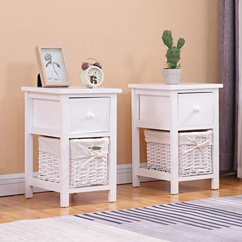 sogesfurniture Mesita de noche de madera blanca con cajón superior de madera y cesta de almacenamiento forrada de tela, 28 x 31 x 45 cm BHEU-BSB-004