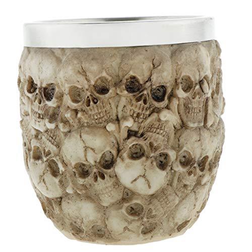 LOVIVER 1 Pieza Retro 3D Taza de Calavera de Acero Inoxidable Novedad Taza de Café con Cabeza de Calavera Decoración