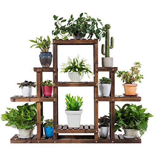 COSTWAY Pflanzenregal Blumenregal, Blumenständer Holz, Blumentreppe Garten, Pflanzentreppe mehrstöckig, Holzregal (6 Etagen / 120 x 25 x96 cm)