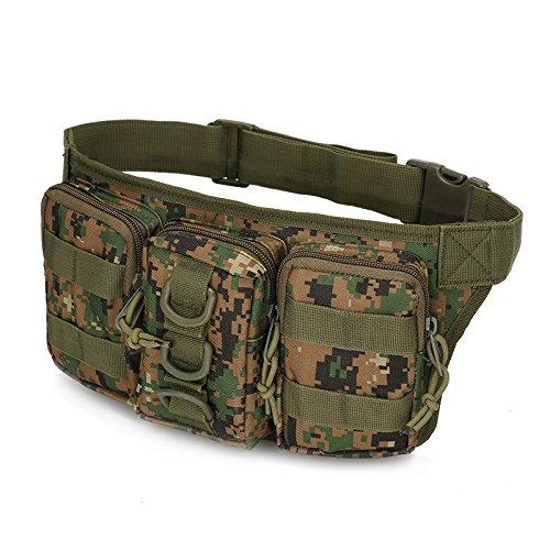 1 x taktische wasserdichte Hüfttasche, Camouflage, Wandern, Armee, Militär, Jagd, Sport, Klettern, Camping, Taschen XA277Y (Farbe: Dschungel-Digital)